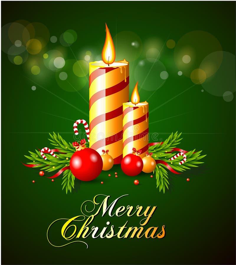карточки свечки приветствию рождества веселому иллюстрация штока
