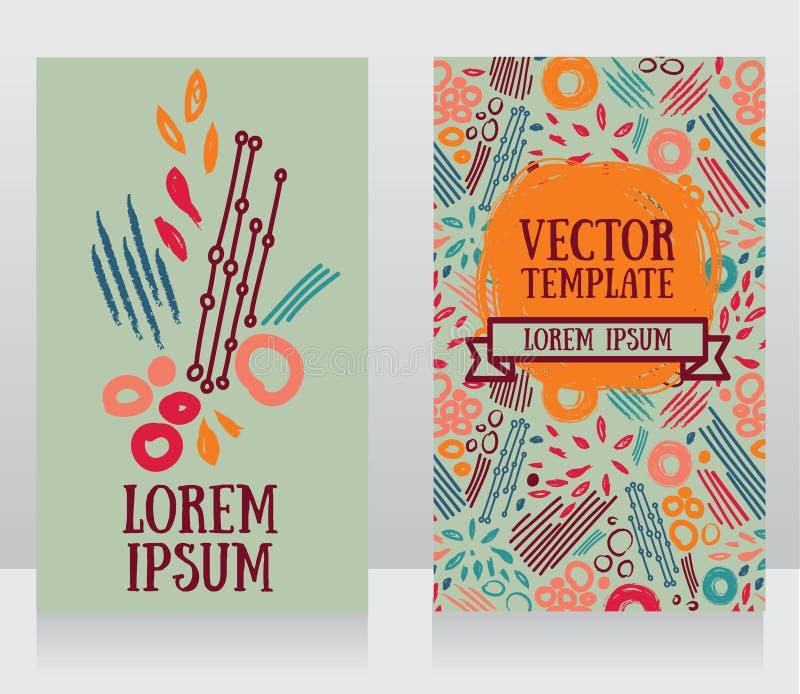 Карточки с абстрактной дизайном нарисованным рукой иллюстрация штока