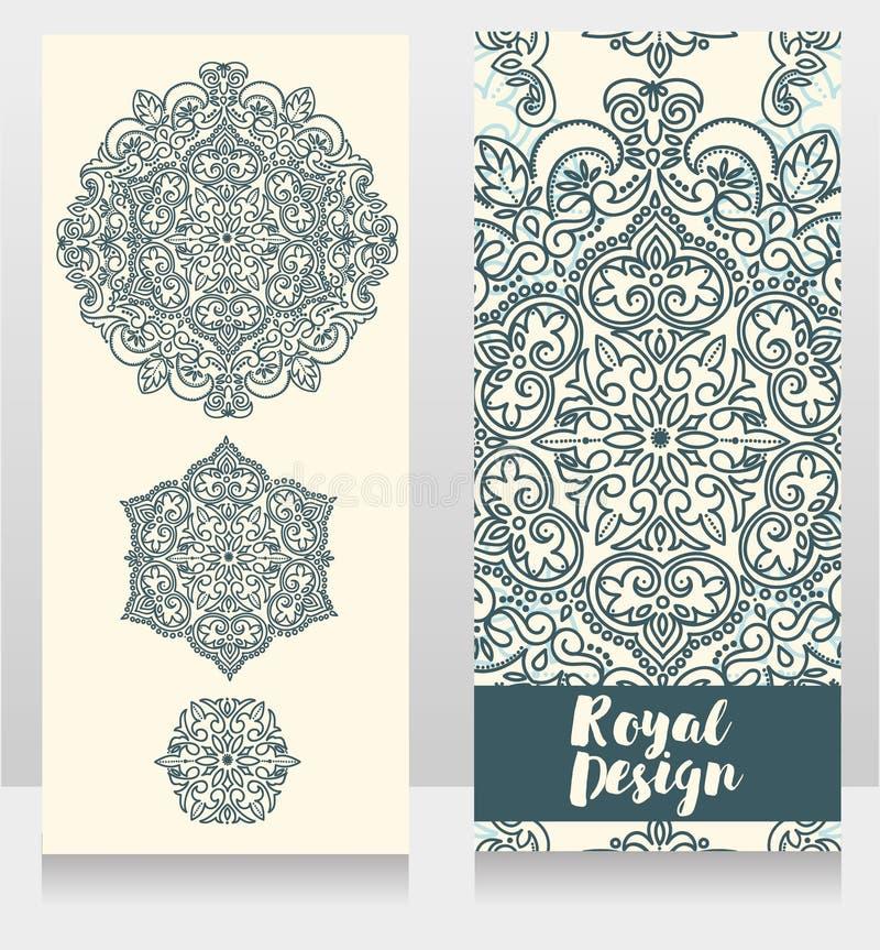 2 карточки с красивыми красочными орнаментами бесплатная иллюстрация