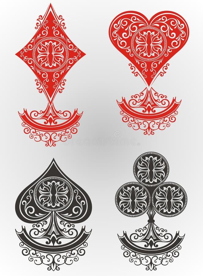 карточки топят играть покер королевский иллюстрация вектора