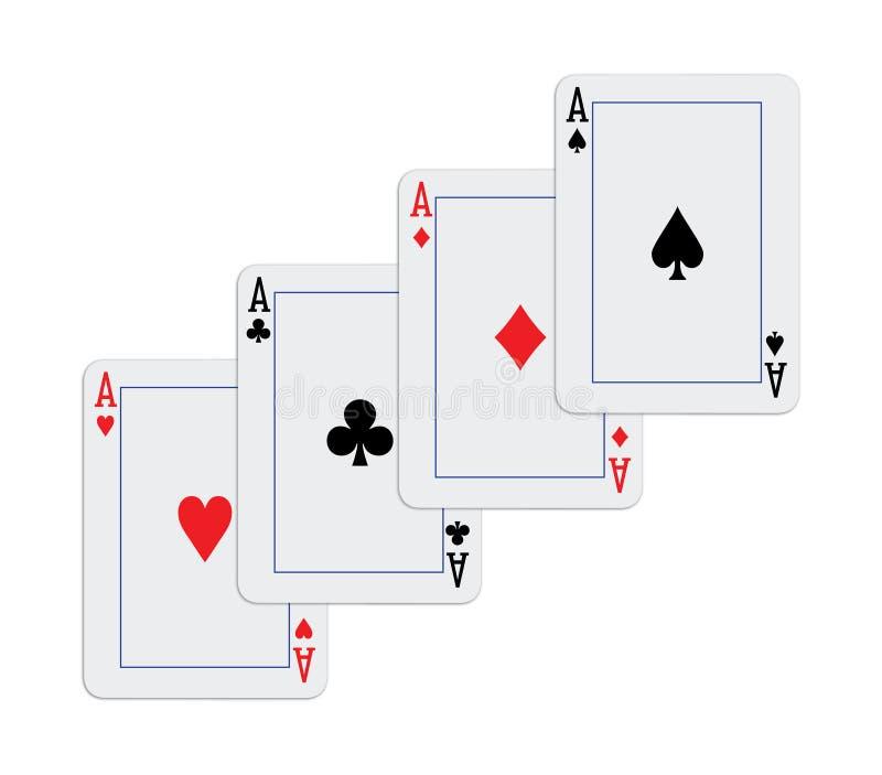карточки тузов каскадируют играть руки иллюстрация вектора