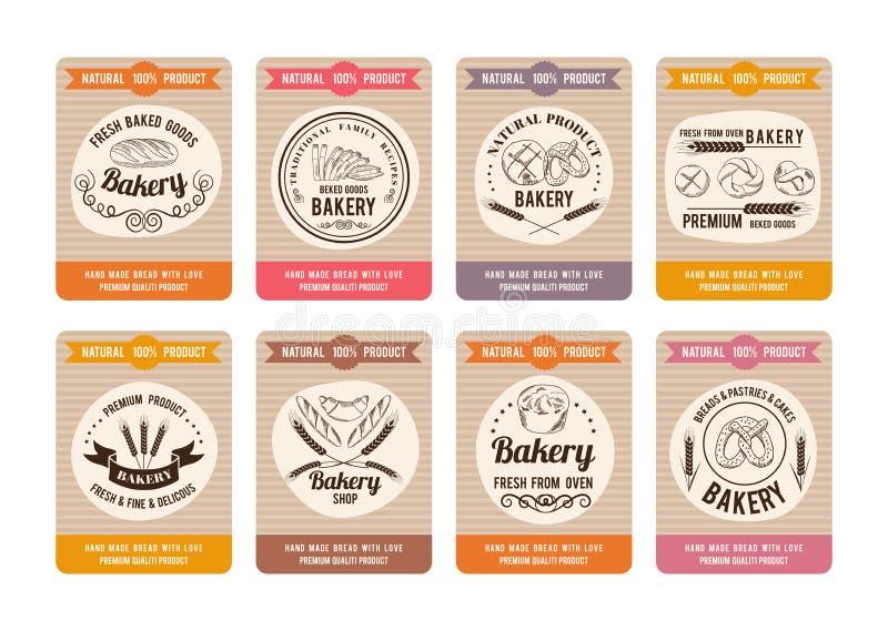 Карточки цены с разными видами хлеба Ярлыки для магазина хлебопекарни Иллюстрации вектора ретро в стиле нарисованном рукой иллюстрация штока