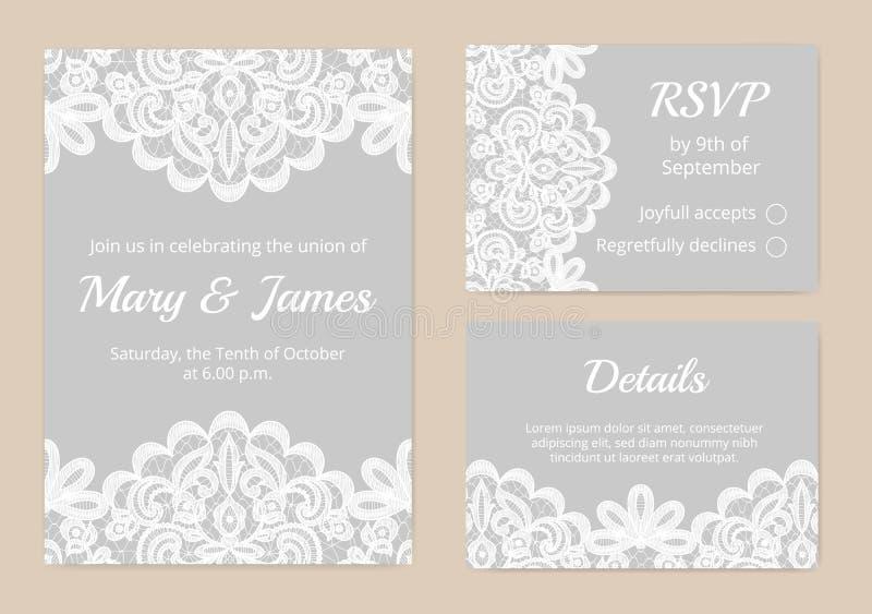 Карточки шнурка для wedding иллюстрация вектора