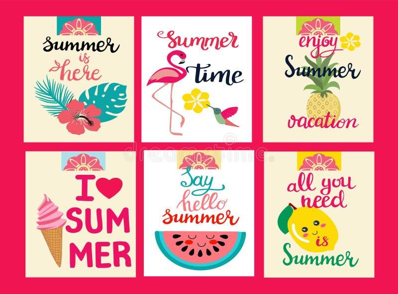 Карточки элементов лета, темы летнего отпуска, перемещения, пляжа бесплатная иллюстрация