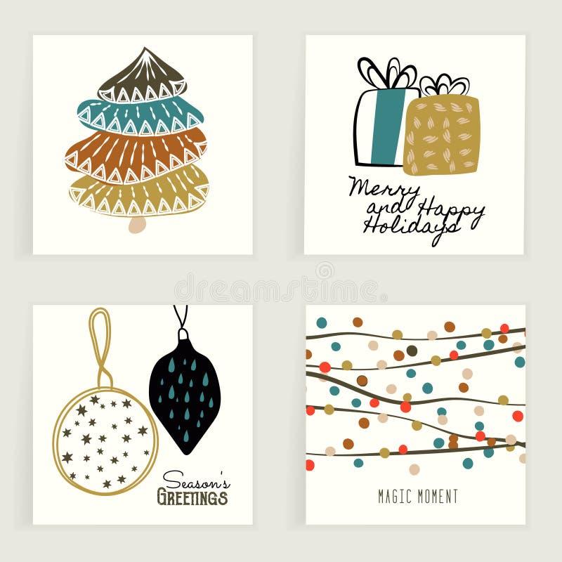 4 карточки Элемент нарисованный рукой творческий праздничный Красочные художнические предпосылки с украшением рождества иллюстрация штока