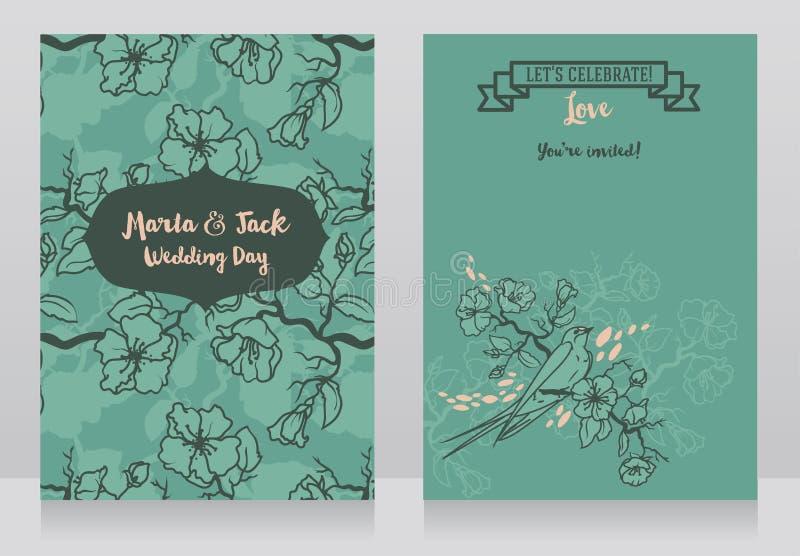 Карточки для wedding с зацветая ветвями дерева и сидя ласточкой иллюстрация вектора