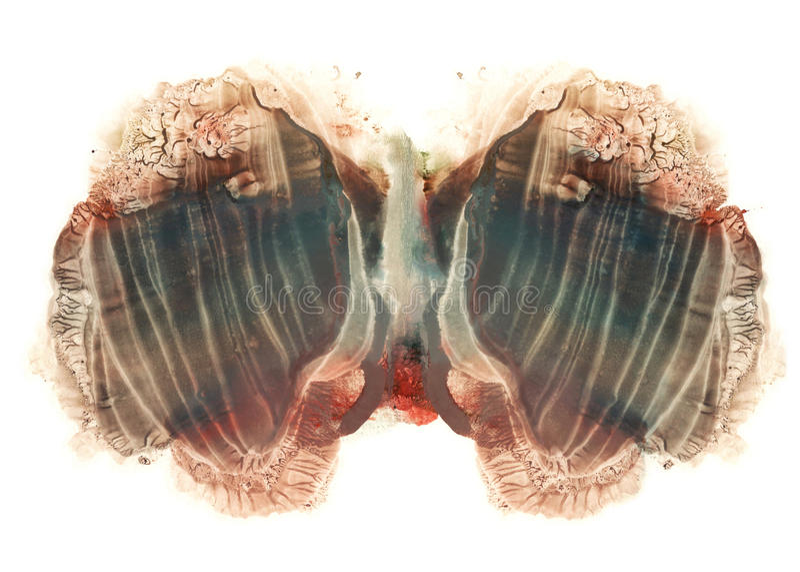 Карточки inkblot rorschach испытывают голубую и коричневую нашлепку акварели иллюстрация штока