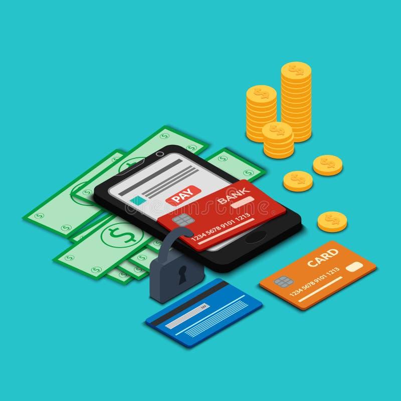 карточки smartphone и банка закрыты на padlock иллюстрация вектора