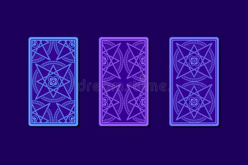 Карточки Tarot обратной стороной Классические дизайны иллюстрация штока