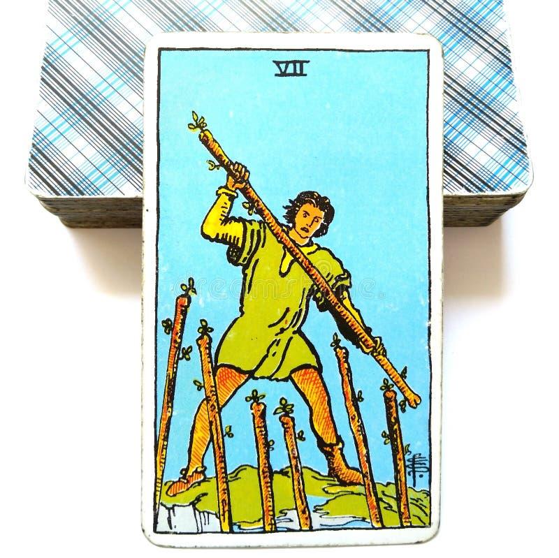 7 7 карточки Tarot палочек бросают вызов выносливость цепкости определения конкуренции соперничества врагов оппозиции песчаная иллюстрация вектора