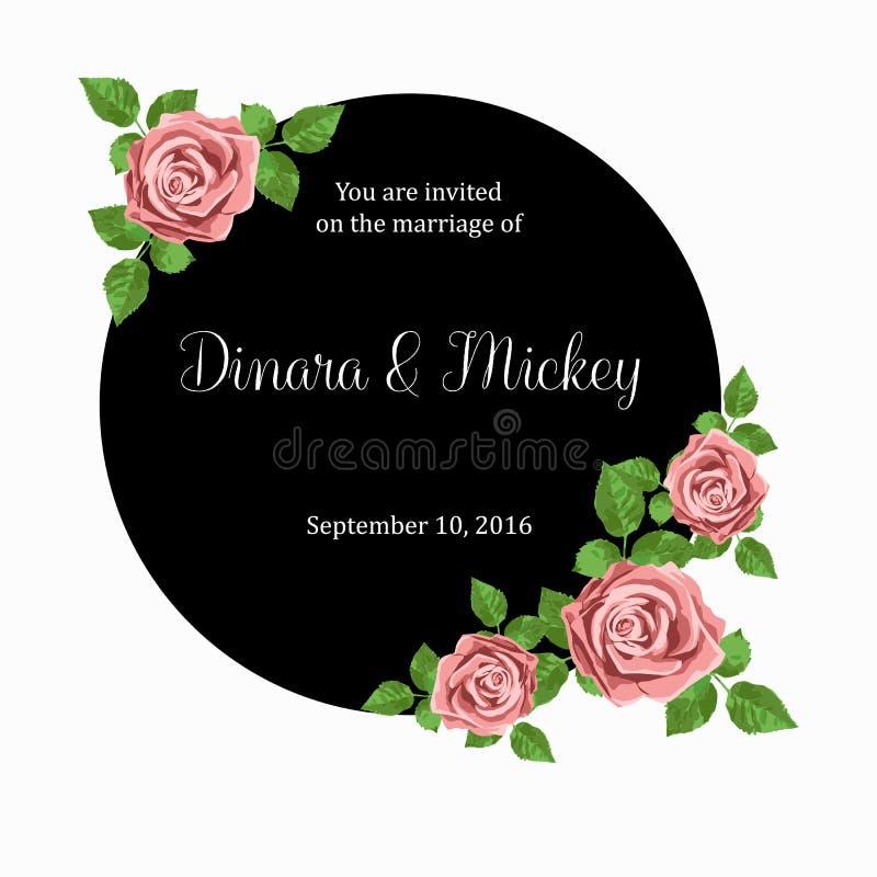 Карточку приглашения свадьбы с розовыми реалистическими розами можно использовать как карточка приглашения для wedding иллюстрация штока