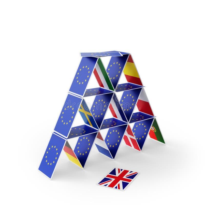 Карточный домик Brexit ЕС иллюстрация вектора