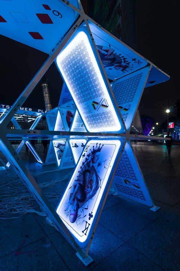 Карточный домик установки искусства на Potsdamer Platz стоковые изображения