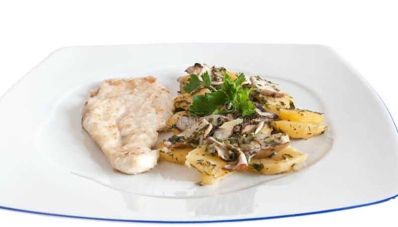 картошки escalope цыпленка стоковое фото rf