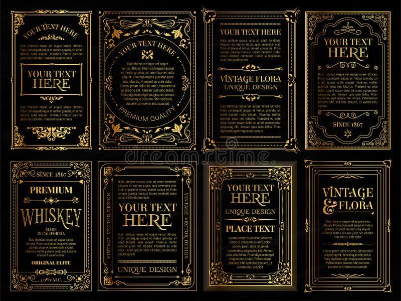 Карты винтажного набора ретро Приглашение свадьбы поздравительной открытки шаблона иллюстрация вектора