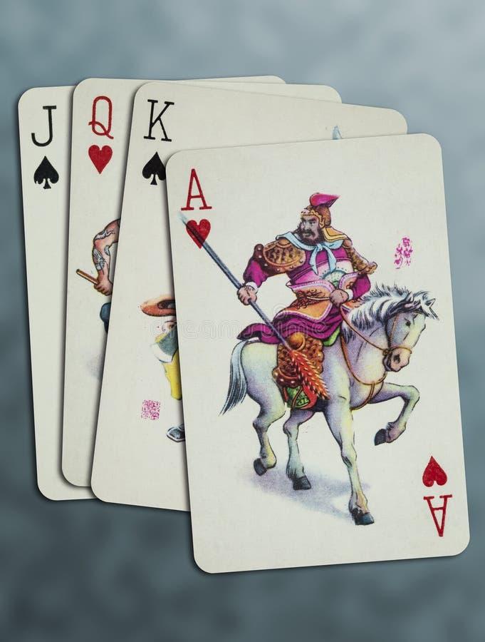 Карты игры короля Ферзя Поднимать домкратом туза стоковые фото