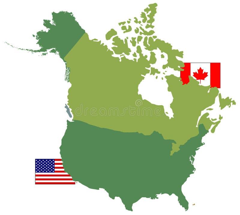 Карты Канады и США и флаги - 2 страны в Северной Америке иллюстрация штока