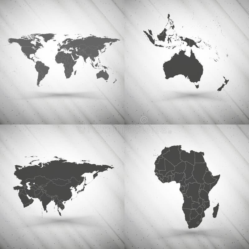 Карты мира установили на серую предпосылку, текстуру grunge иллюстрация штока