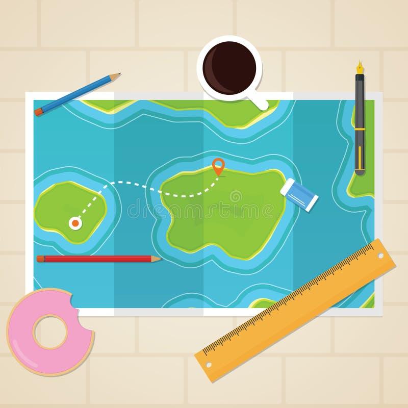 Карты на таблице иллюстрация вектора