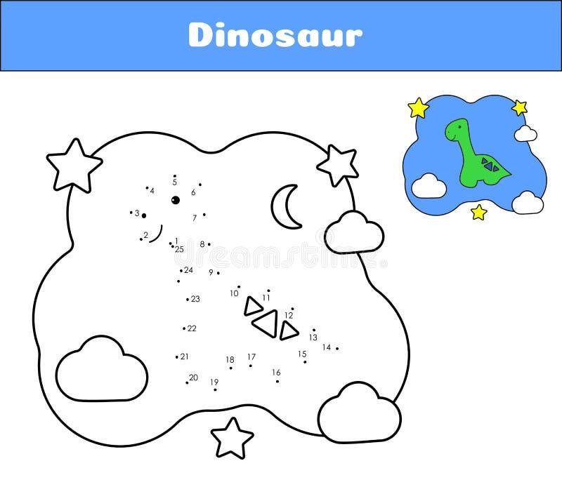 Соедините точки Карты печати Dino для воспитательной игры Динозавр персонажа из мультфильма книжка-раскраски Милый диплодок бесплатная иллюстрация