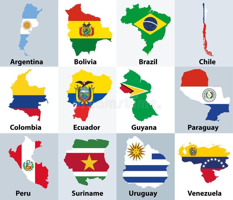 Карты смешали с флагами независимых стран Южной Америки иллюстрация штока