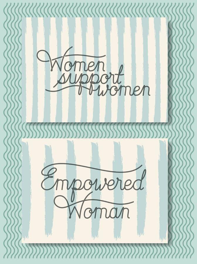 Карты со шрифтом феминист сообщения ручной работы иллюстрация вектора