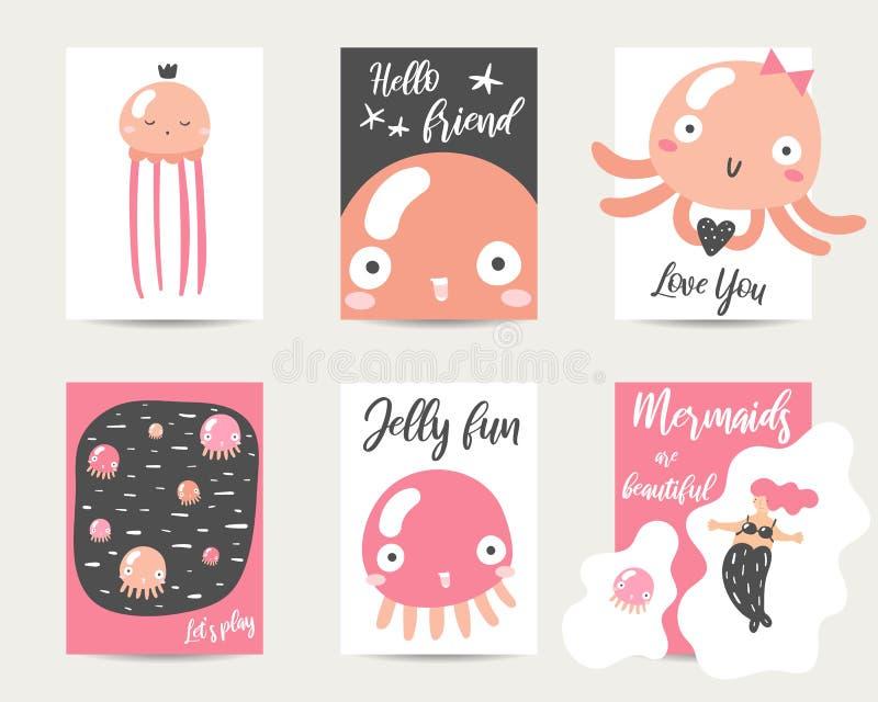 Карты стиля аниме милой руки вычерченные, брошюры, приглашения с медузами бесплатная иллюстрация