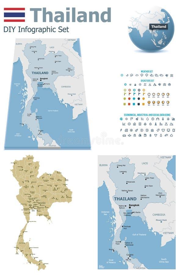 Карты Таиланда с отметками иллюстрация штока