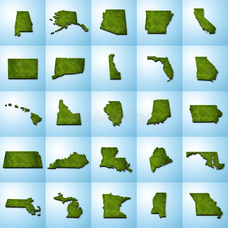 Карты штата США установили I иллюстрация вектора