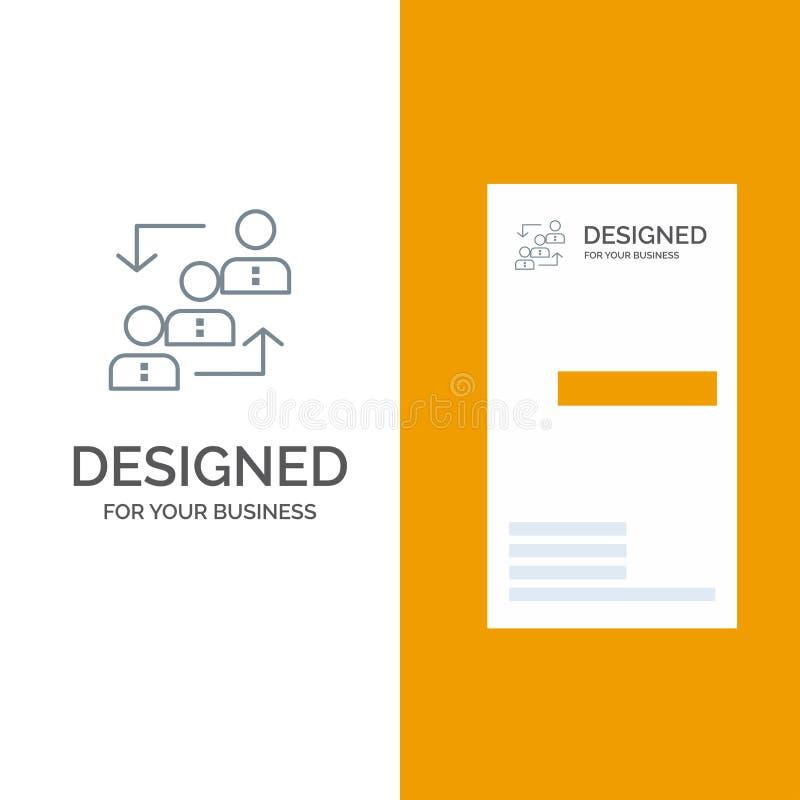 Карьера, выдвижение, работник, лестница, продвижение, штат, дизайн логотипа работы серые и шаблон визитной карточки иллюстрация вектора