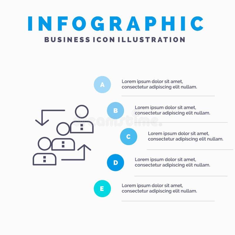 Карьера, выдвижение, работник, лестница, продвижение, штат, линия значок работы с предпосылкой infographics представления 5 шагов иллюстрация вектора