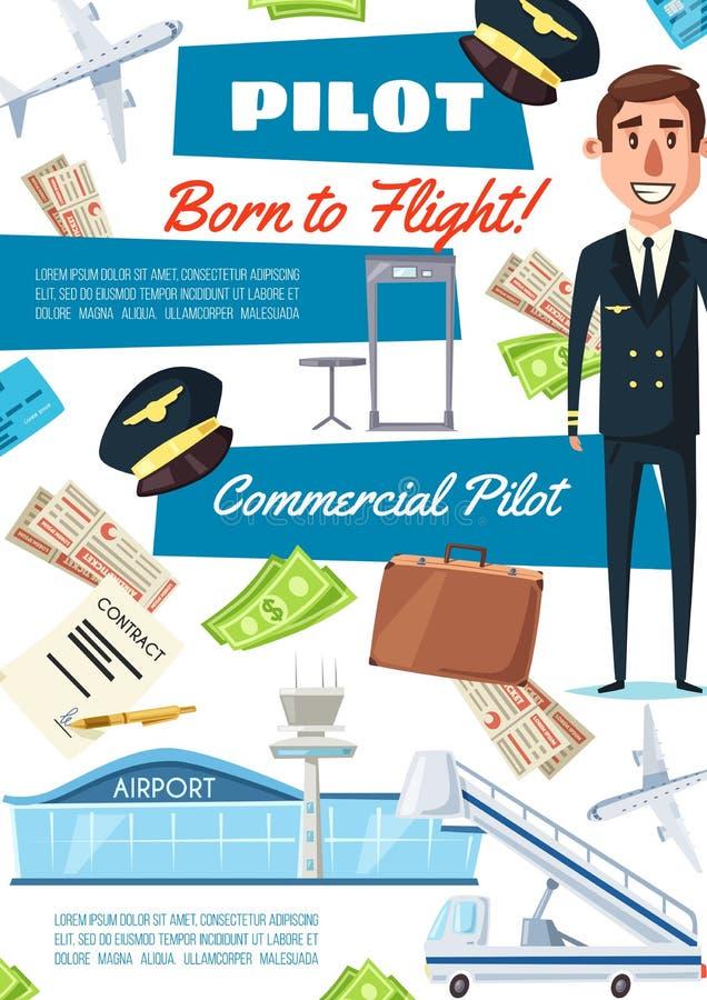 Карьера пилота, нанимая рекрутство авиатора бесплатная иллюстрация