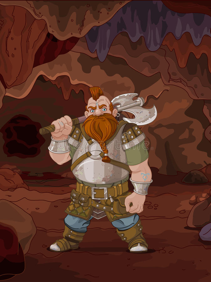 Карлик стиля фантазии в волшебной пещере бесплатная иллюстрация