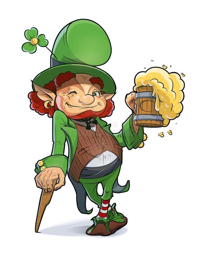 Карлик с пивом. Иллюстрация на день Patricks Святого. иллюстрация вектора
