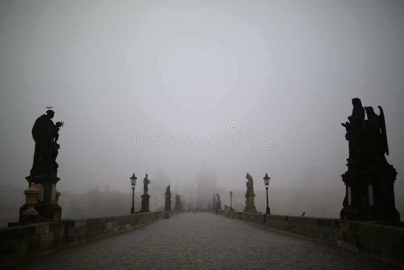 Карлов мост в Праге на туманном утре стоковое изображение