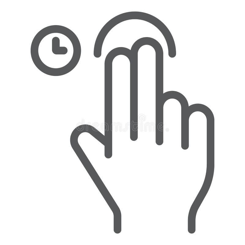 Касание 2 пальцев и линия значок владением, жест и рука, знак удара, векторные графики, линейная картина на белом иллюстрация штока