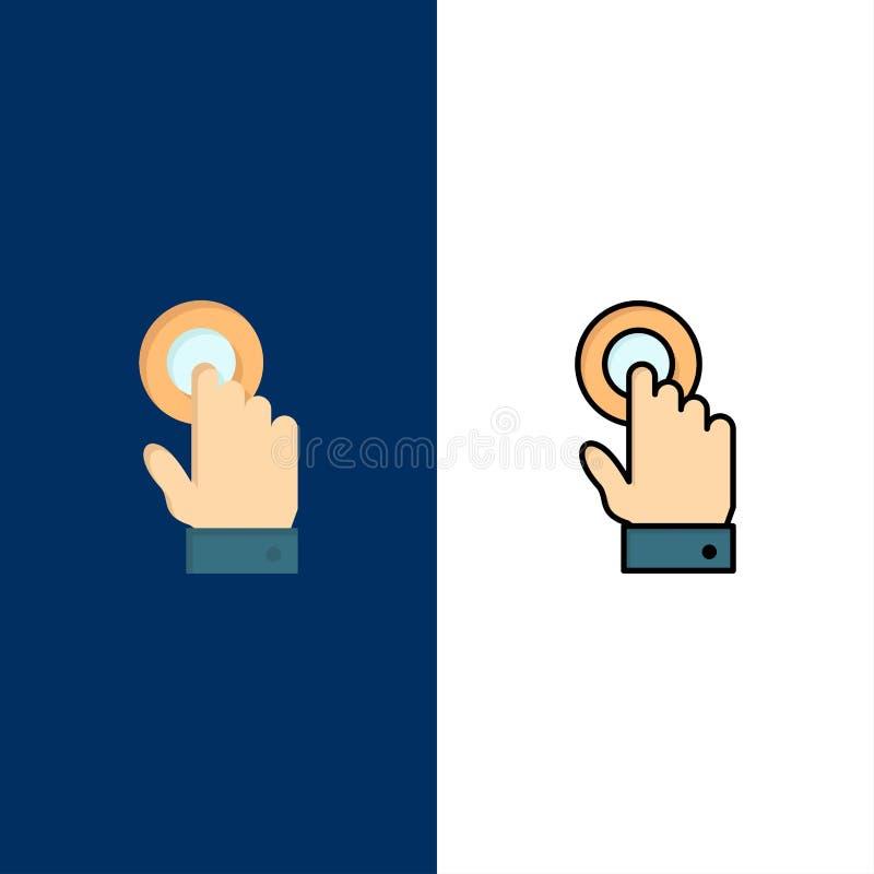 Касание, сенсорный экран, интерфейс, значки технологии Квартира и линия заполненный значок установили предпосылку вектора голубую иллюстрация штока