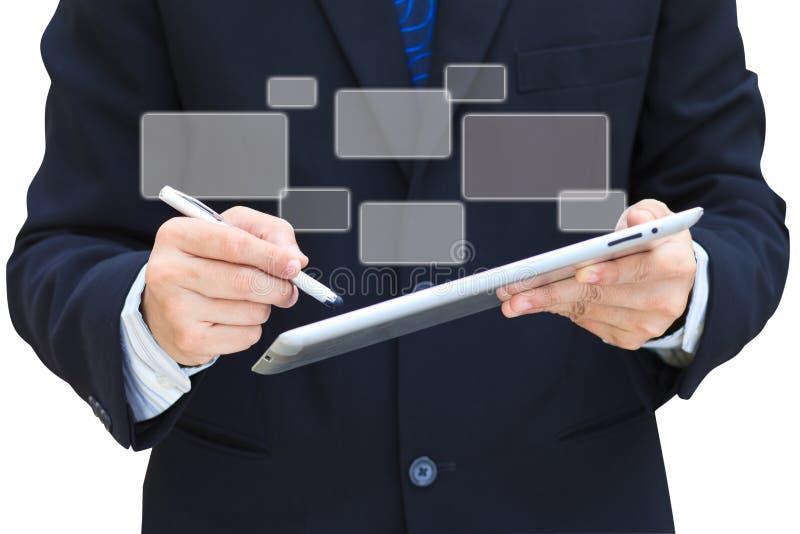 касание таблетки экрана владением руки компьютера дела стоковое фото