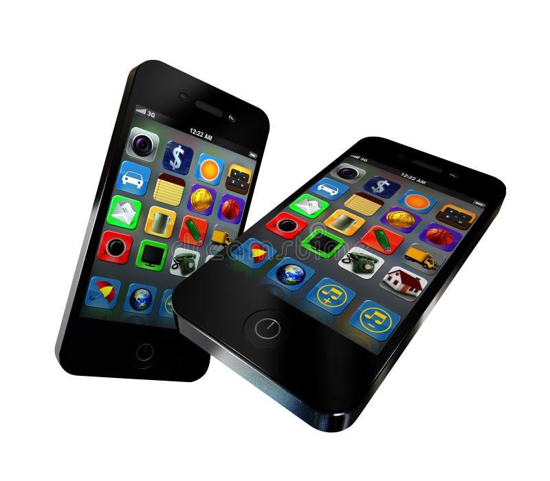 касание 2 экрана телефонов иллюстрация штока