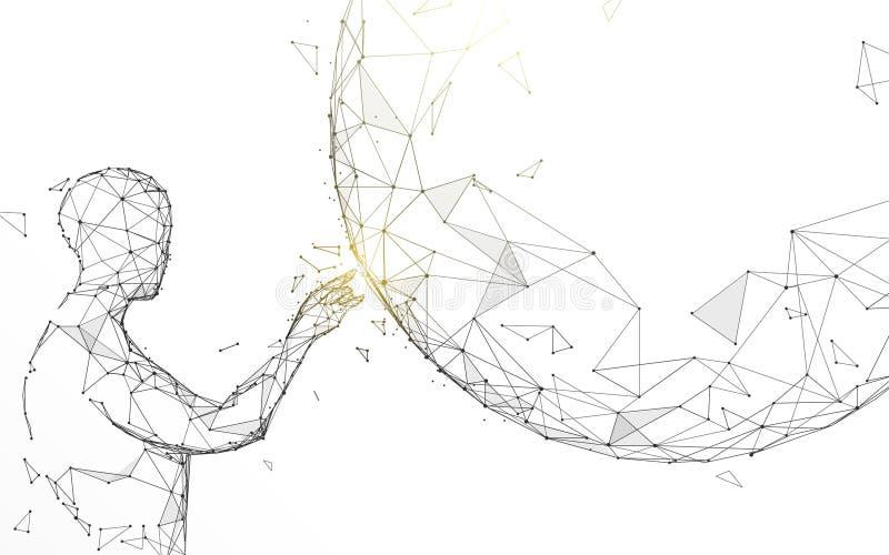 Касаться человека глобальный от линий, треугольников и дизайна стиля частицы иллюстрация штока