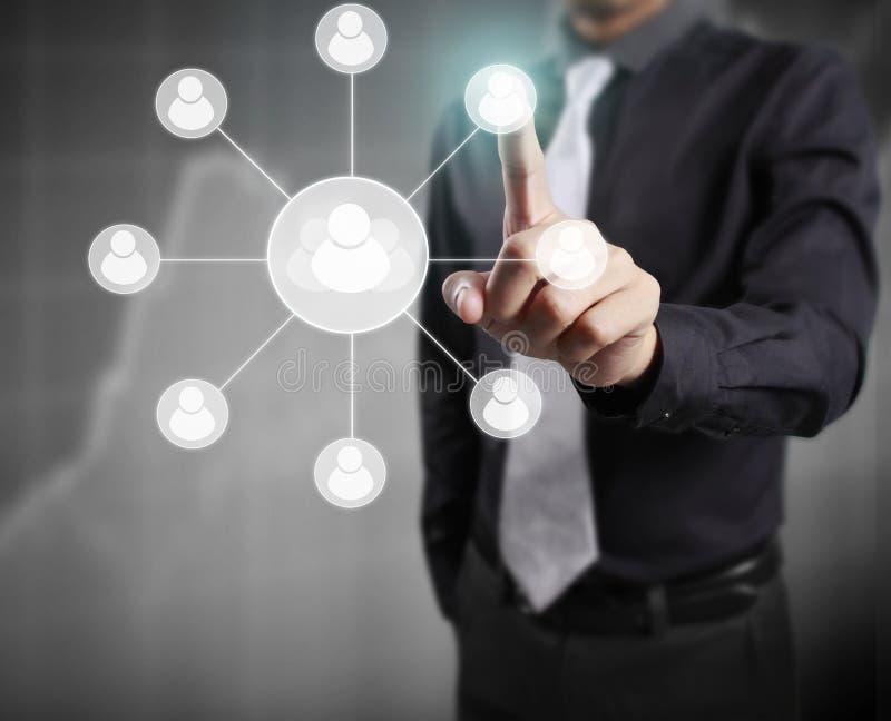 Касающий виртуальный значок социальной сети иллюстрация вектора