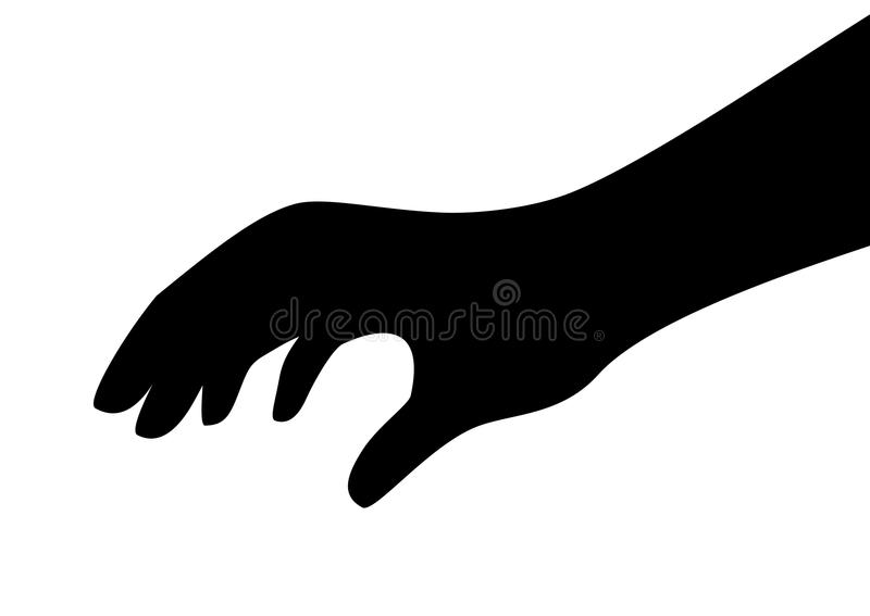Касающий значок силуэта вектора руки иллюстрация вектора