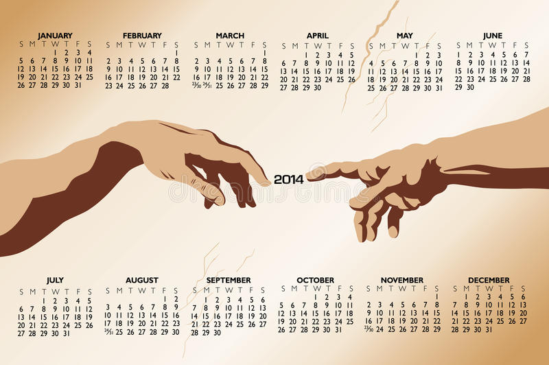 Касающий календарь рук 2014 стоковые изображения