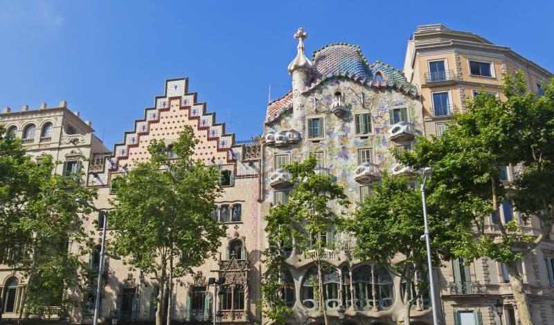 Каса Batllo и Каса Ametller, известная модернистская архитектура Барселона стоковые изображения rf