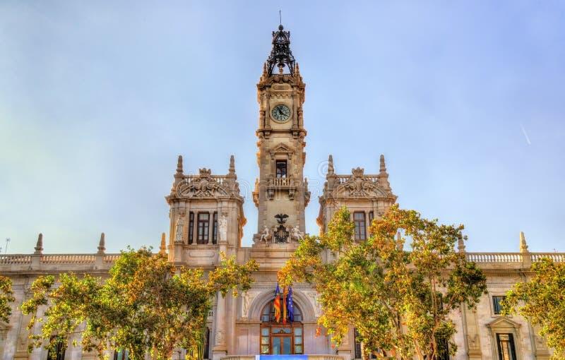 Каса Consistorial, здание муниципалитет Валенсии, Испания стоковое фото rf