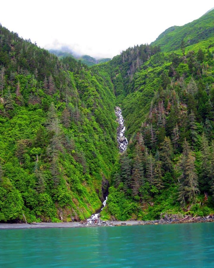 Каскадируя водопад в Prince William Sound стоковые изображения rf
