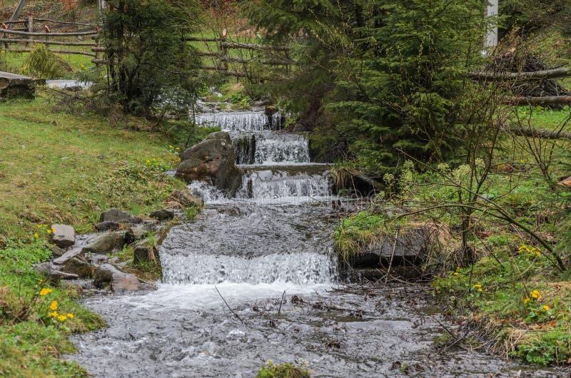 Каскады чистого реки горы среди камней стоковая фотография