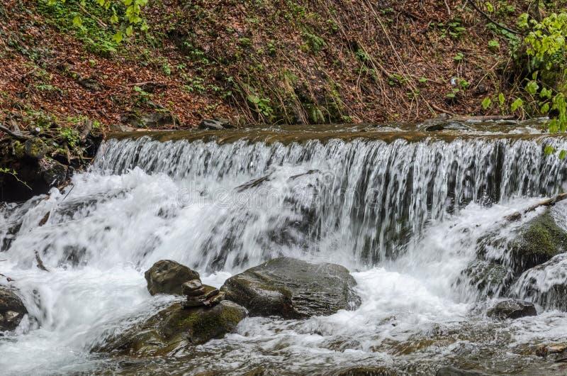 Каскады чистого реки горы среди камней стоковые изображения rf
