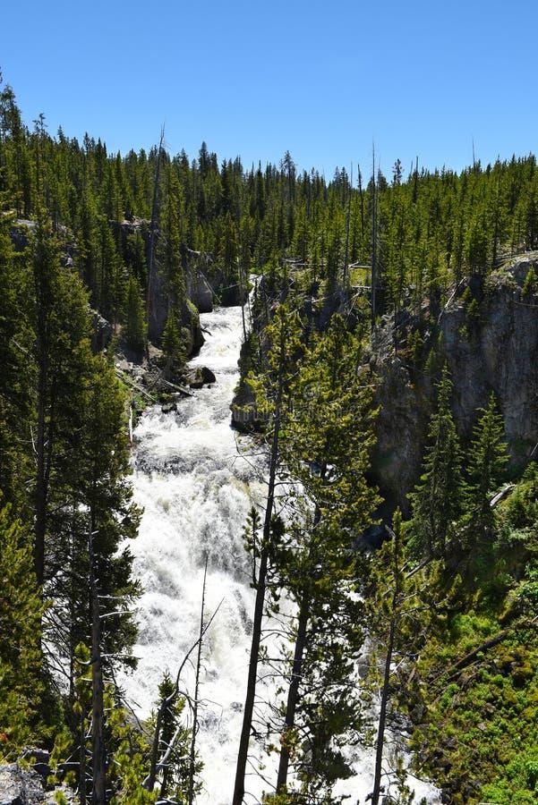 Каскады Kepler водопад на реке Firehole стоковые изображения