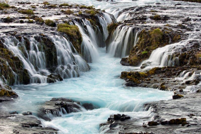 Каскад водопада Бруарфосс рядом с турниром золотого круга в Исландии стоковая фотография